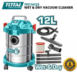 TOTAL PORTABLE 110V 12 LITRES 800 WATTS WET / DRY VACUUM CLEANER - PERFECT FOR JOB SITE, GARAGE, BASEMENT, VAN, WORKSHOP OR HOUSEHOLD - UTVC14122
