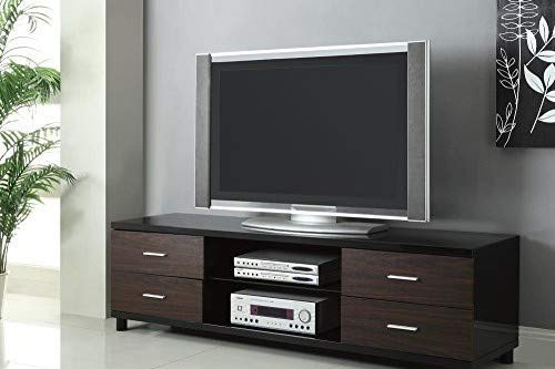 Coaster 4-Drawer TV Console In Glossy Black And Walnut Finish 700826