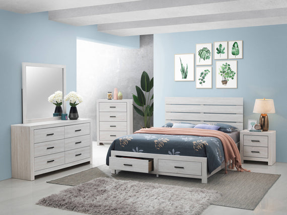 Marion Queen Storage Bed Coastal White 4PC Set - SET4PC207050Q