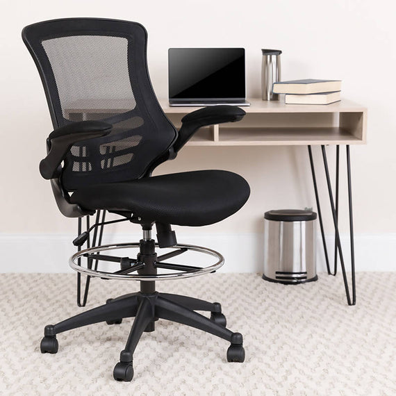 Mid-Back Blue Mesh Ergonomic Drafting Chair with Adjustable Foot Ring and Flip-Up Arms [BL-X-5M-D-BLUE-GG]