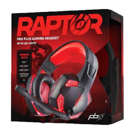 Packard Bell RAPTOR Pro Plus Gaming Headset Red LED-Lights, Boom Mic, Noise-Reducing Tech, Sport Cloth Earcups, Padded Headband for Computer & Gaming Consoles /415297