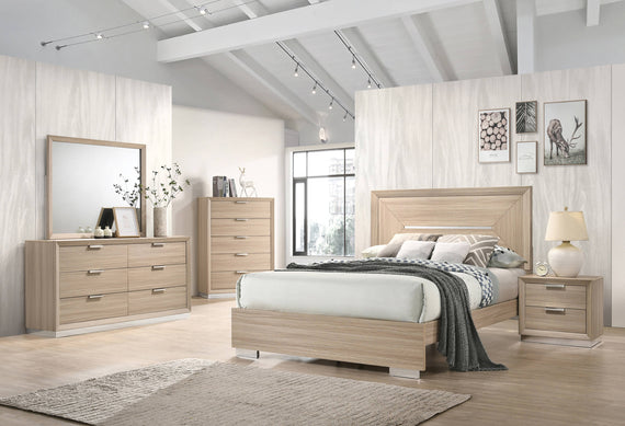 Lynncrest Queen Panel Bed Rustic Beige - 222591Q