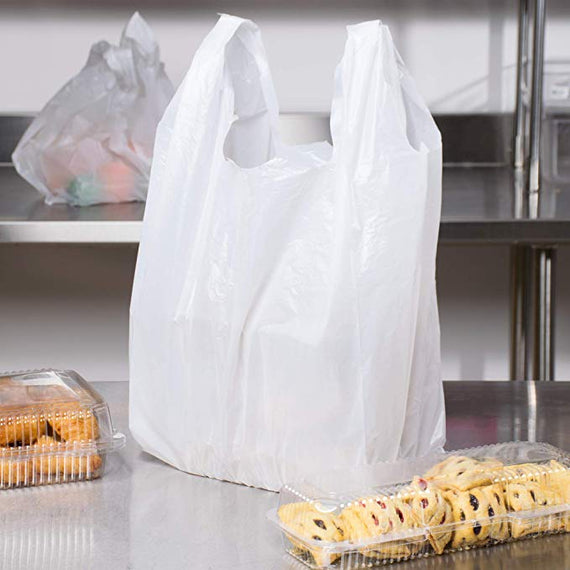 Plastic Bags Black or  White Plain Vest (handle) Grocery Bags,Durable, (18'' x 21' ) Price Per Bale=2000 Pcs