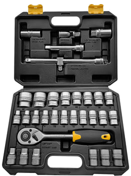 Worksite Socket Set 32pcs 1/2 inch Drive Socket Wrench Set with Extension Bars, Spark Plug Socket, Extension Bar, Universal Joint;  Quick Ratchet Handle WT8054