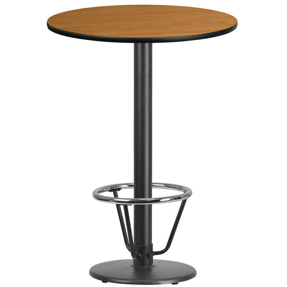 30'' Round Black Laminate Table Top with 18'' Round Bar Height Table Base and Foot Ring [XU-RD-30-BLKTB-TR18B-3CFR-GG]