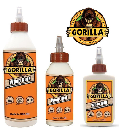 GORILLA Wood Glue with 3 Sizes 4 ounces, 8 ounces & 18 ounces for Wood Projects, Indoor & Outdoor, No Foaming Home Improvement MEGA