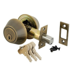 Yale Double Cylinder Deadbolt Lock, Antique Brass - US11