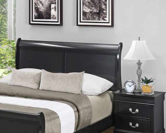 Louis Philippe Full Panel Sleigh Bed Black - 212411F
