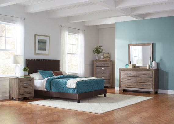 Boyd Queen Upholstered Bed With Nailhead Trim Brown 4PC Set - SET4PC350081Q