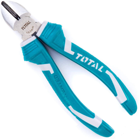 Total 7 Inch/180mm Heavy-duty Diagonal Cutting Pliers is an essential in any electrical work. Designed with handles lined with a comfortable thermoplastic rubber insulating sleeve, it allow you to cut cables and wires easily and quickly - THT27716