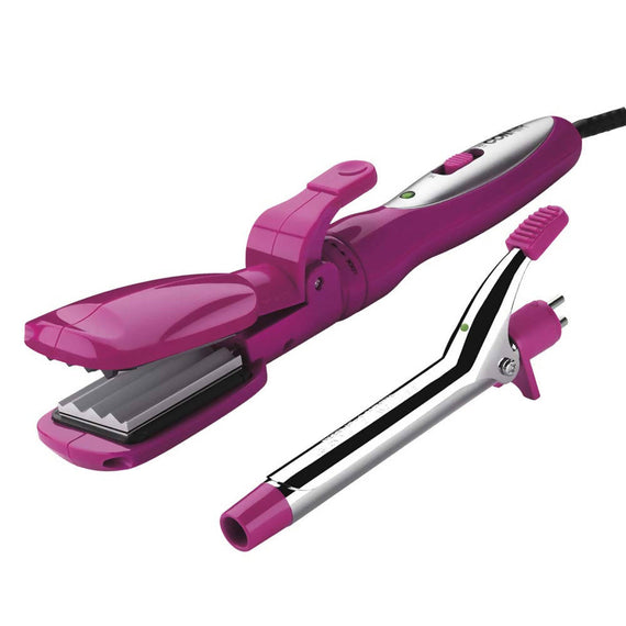 Conair Special Styles Ceramic Combo Styler - Straightening/Crimping Plates and 3/4 Inch Curling Iron (Pink) C -CB600CRXR