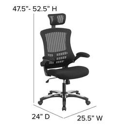 High Back Mesh Executive Office and Desk Chair with Wheels and Adjustable Headrest - BL-X-5H-GG