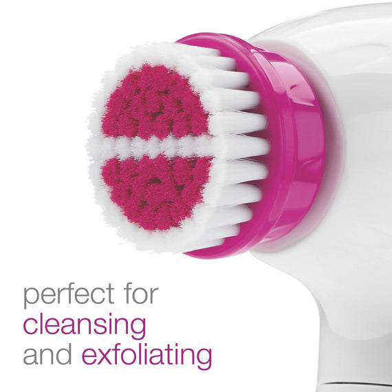 Conair True Glow Facial Kit makes your face vibrantly clean and refreshed. This all-in-one kit features a 360-degree rotating brush and three interchangeable facial brush heads that gently exfoliates to remove dirt, oil and makeup - C-FCB4WR
