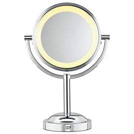 Conair Double-Sided Battery Operated Lighted Makeup Mirror offers regular and 5x magnification. The halo lighting around the perimeter of the mirror provides soft, glare-free lighting for optimum clarity - C-BE4NW