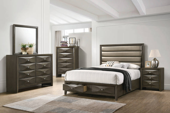 Salano Eastern King 2-Drawer Storage Bed Mod Grey And Bronze - 215881KE