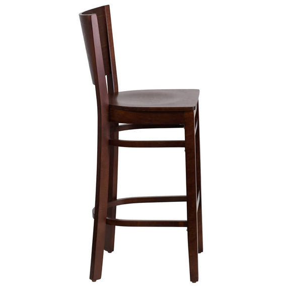 Lacey Series Solid Back Walnut Wood Restaurant Barstool [XU-DG-W0094BAR-WAL-WAL-GG]