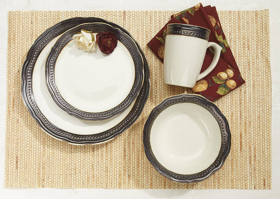 Cuisinart Stoneware Jenna Natural Collection 16 Piece Dinnerware Set - CU-CDST1-S4AE