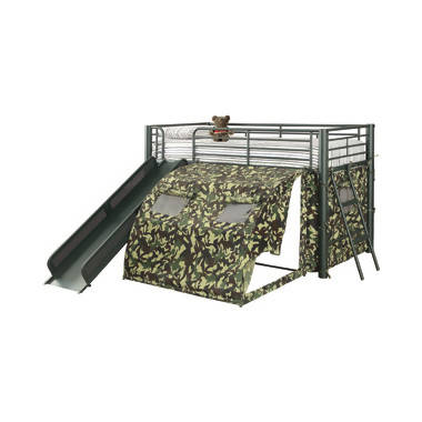 Camouflage Tent Lofted Bed With Lower Playspace Army Green - 7470