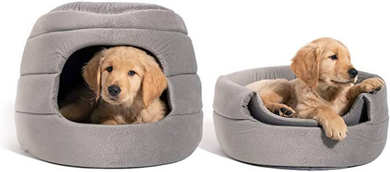Best Friends by Sheri Convertible Honeycomb Cave Bed, Cozy Covered Dog & Cat Tent Great for Your Small Pet & Puppy, Easily Convert into Round Open Cuddler - Removable Insert + Machine Washable /410631-086268195023