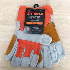 Truper Leather- Cotton Fabric Gloves with Leather Reinforcement in Palm, Index Finger and Thumb, Elastic Band on Top of the Wrists and Polyester Lining. Ideal for Heavy-Duty Applications, Manual and Power Tools Handling and General Purposes - 14246