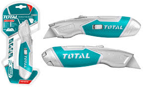 Total's Heavy Duty Utility Knife with Rubber Grip, 3-Position Retractable Locking Blade with 5 (61mm x 19mm) Replaceable Blades, Durable Zinc Alloy Construction. Ideal for Box Cutting, Arts and Crafts, Cutting Carpet, Drywall, Vinyl, and More - TG5126101