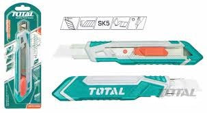 Total Snap-Off Blade Knife, Hand Cutter, 173mm. Ideal for Construction, Woodworking, Crafts, Cutting Cardboard, Rope, Carpet, Linoleum, Plastic, Leather, Wallpaper and More - THT511816