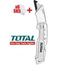 Total Utility Knife, with Holster, Lightweight Aluminium Body, Multifunctional Retractable Cutter. Ideal for Cutting Cardboard, Rope, Carpet, Linoleum, Plastic, Leather, Wallpaper And More - THT5136138