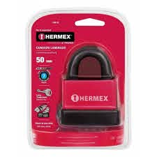 Hermex Heavy Duty Covered Laminated Steel Keyed Padlock, Waterproof Padlock for Outdoor use, Sturdy Lock, 2 inch Wide Body, With Three Keys, Keyed Different For Gate, Garages, Warehouse and Many Other Uses 43368