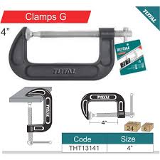 "Total G Clamp 4"" Secures parts for assembly, Fastening, Gluing, and welding in Woodworking, Metalworking, and Automotive Applications  - THT13141"
