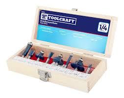 "TOOLCRAFT 8 PIECE ROUTER BIT SET, 1/4"" INCH SHANK (FLUSH TRIM, COVE, STRAIGHT, V GROOVING, ROUND OVE, ROMAN OGEE, DOVETAIL, CORE BOX) TC3454"