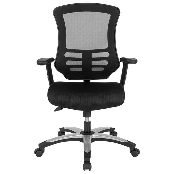 High Back Black Mesh Multifunction Executive Swivel Ergonomic Office Chair with Molded Foam Seat and Adjustable Arms - BL-LB-8817-GG
