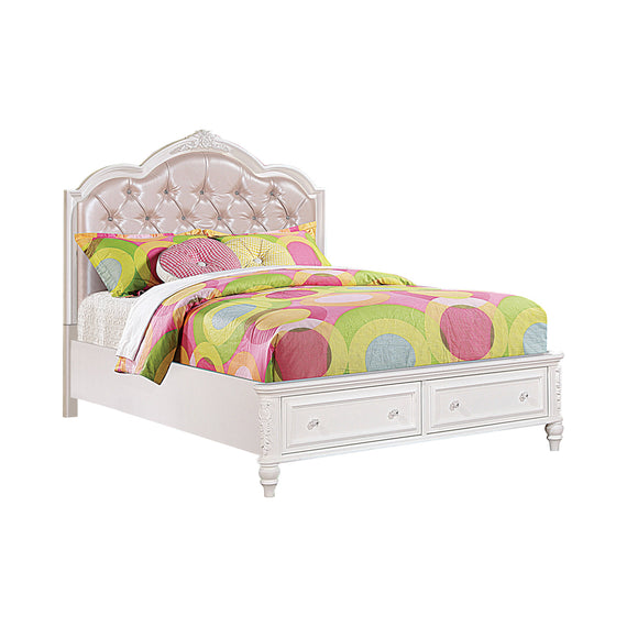 Caroline Full Upholstered Storage Bed Pink And White 4PC Set - SET4PC400721F