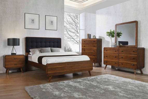 Robyn Queen Bed With Upholstered Headboard Dark Walnut 4 PIECE Set - SET4PC205131Q