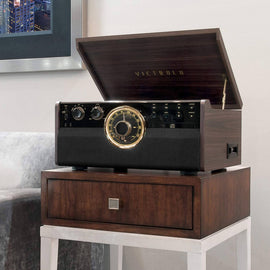 Victrola 6-in-1 Wood Bluetooth Mid Century Record Player with 3-Speed Turntable, CD, Cassette Player and Radio-390205