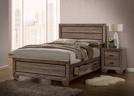 Kauffman Queen Storage Bed Washed Taupe 4PC Set - SET4PC204190Q