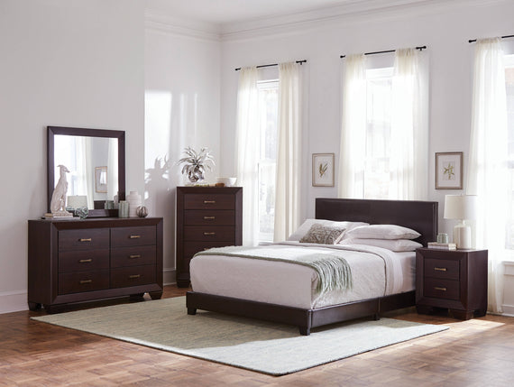 Dorian Upholstered Queen Bed Brown 4PC Set - SET4PC300762Q