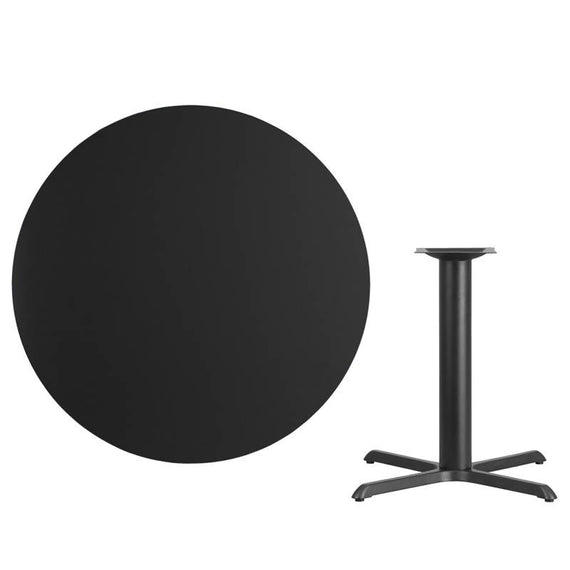 42'' Round Black Laminate Table Top with 33'' x 33'' Table Height Base [XU-RD-42-BLKTB-T3333-GG]