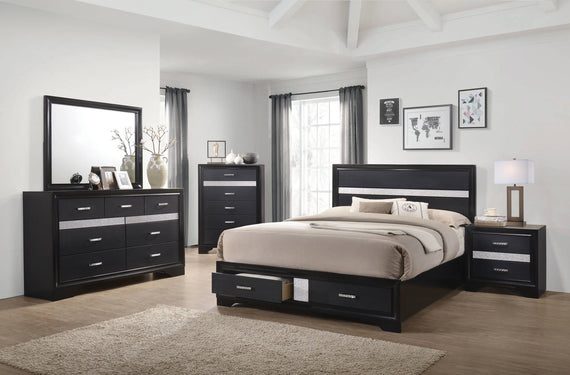 Miranda Queen 2-Drawer Storage Bed Black - 206361Q