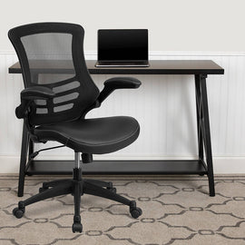Swivel Chair with Mid-Back Black Mesh and LeatherSoft Seat for Home Office and Desk - BL-X-5M-LEA-GG