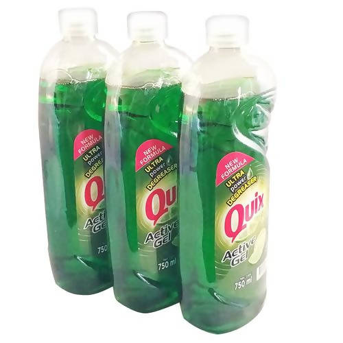 Quix Dishwasher Liquid 3pk 750ml Quix has a new look and a new formula with five times more degreasing power in a 100 per cent recycled and recyclable bottle-123408
