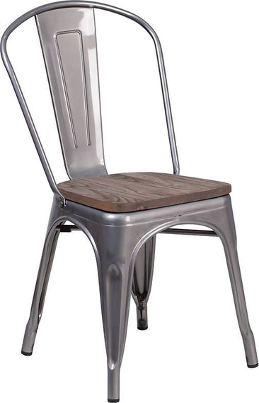 Clear Coated Metal Stackable Chair with Wood Seat [XU-DG-TP001-WD-GG]