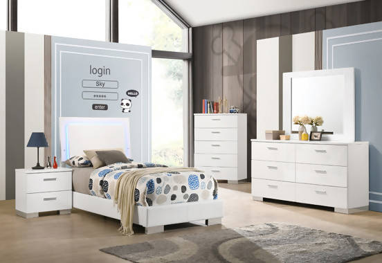 Felicity 4-Piece Twin Bedroom Set With LED Lighting Glossy White - SET4PC203500T