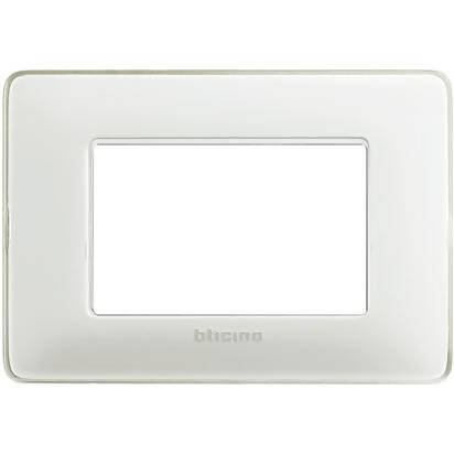Bticino Three Modules Wallplate (White) adds a high-end feel to your walls by hiding the normally visible mounting screws - AM4803BBN