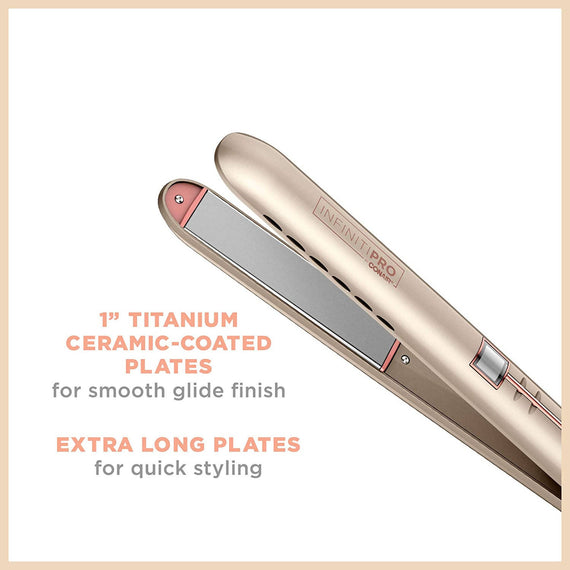 InfinitiPRO by Conair Frizz-Free 1 inch Flat Iron (Rose Gold) Flawlessly Smooth, Silky, Frizz-Free results without visiting the Salon - C-CS600