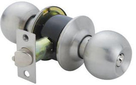 RAIDER Combination Entrance Cylindrical Knob Lockset S/D 3871 Satin Stainless Steel (SS) for Office or Front Door