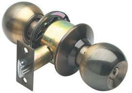 RAIDER Combination Entrance Cylindrical Knob Lockset D/D 3871 Antique Brass (AB) for Office or Front Door