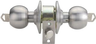 RAIDER Cylindrical Entrance Door Knob Lockset 3877 Satin Stainless Steel (SS) for Office or Front Door