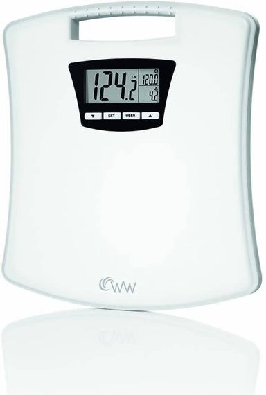 Weight Watchers Scales by Conair Weight Tracker Bathroom Scale compares your current weight to last, start, and goal weight so you can accurately measure your progress. 4 user memory helps the family stay on track - C-WW45Y