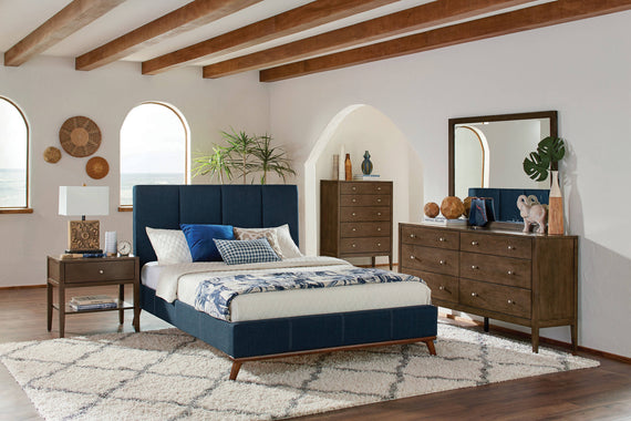 Charity Queen Upholstered Bed Blue 4PC Set - SET4PC300626Q