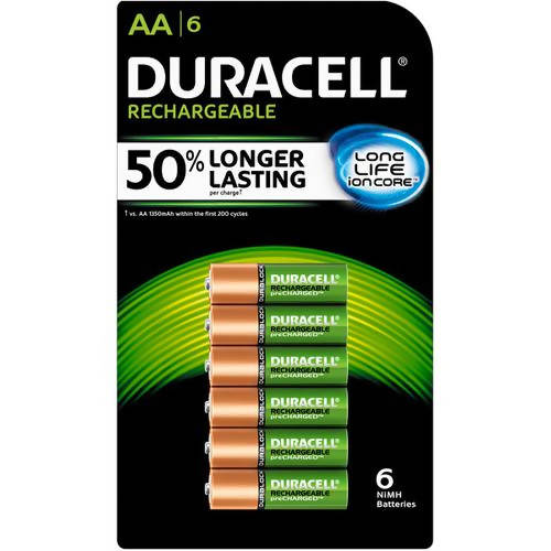 Duracell AA Batteries Rechargeable 6 pk - These powerful NiMH batteries are ideally suited for high-drain or frequently used devices - 398002